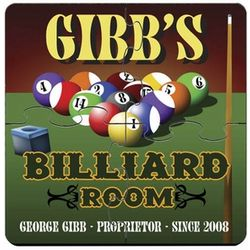 Personalized Coaster Puzzle Set with Billiards Image