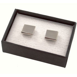 Personalized Silver Square Metal Cufflinks