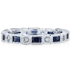 Sterling Silver Sapphire and Cubic Zirconia Eternity Ring