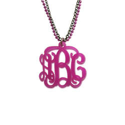 Colored Monogram Necklace with Double Chain