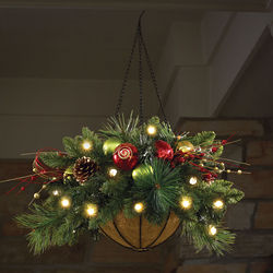 Cordless Pre-Lit Holiday Hanging Basket