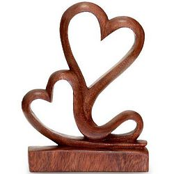 Two Hearts Wood Sculpture