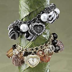 Animal Beaded Heart Charm Watch Bracelet