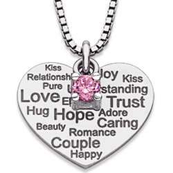 Sterling Silver Sentiment of Love Heart Necklace