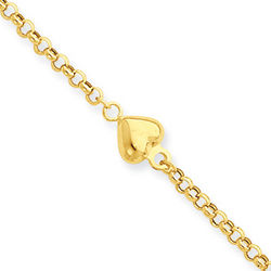 14 Karat Yellow Gold Puff Heart Anklet