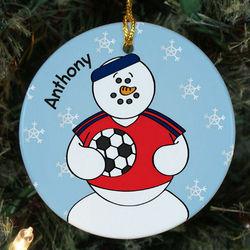 Personalized Ceramic Soccer Snowman Ornament