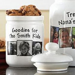 Personalized Black and White Single Photo Treat Jar