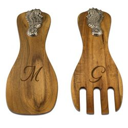 Seahorse Personalized Wooden Fork and Spoon