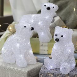 LED-Lighted Polar Bear Cub Figurine