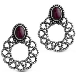 Ruby and Sterling Silver Wreath Earrings