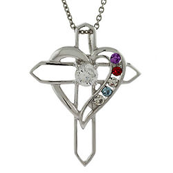 5-Birthstone Heart with Sterling Silver Cross Pendant