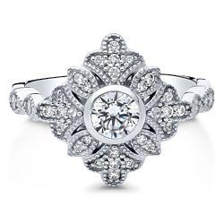 Sterling Silver CZ Art Deco Leaf Fashion Ring