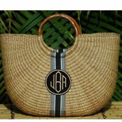 Monogrammed Woven Basket Bag