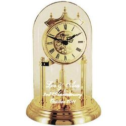 Etched Dome Crystal Cut Pendulum Anniversary Clock