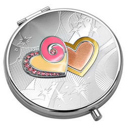 Purse Mirror with Pink Hearts
