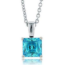 Sterling Silver Blue Topaz Princess CZ Solitaire Pendant Necklace