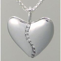 10 Diamond Harmony Large Sterling Heart Pendant Necklace