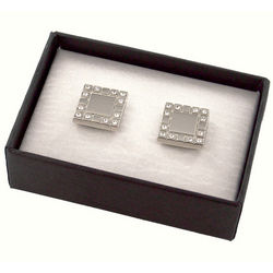 Personalized Silver Metal Cufflinks with Crystals
