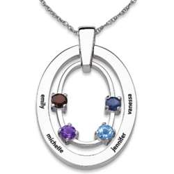 Sterling Silver Family Birthstone and Name Oval Necklace