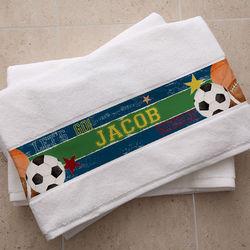 Ready, Set, Score Personalized Bath Towel