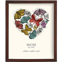 Personalized Butterfly Heart Framed Art Print