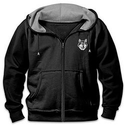 Men's Zip-Up Hoodie with Embroidered Wolf Art
