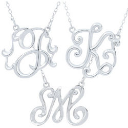 Monogram Style Sterling Silver Initial Pendant