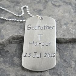 Godfather Dog Tag Personalized Hand-Stamped Necklace