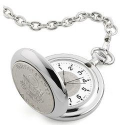 Engravable Army Coin Pocket Watch
