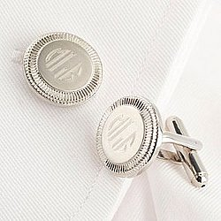 Rhodium Two-Tone Round Cufflinks