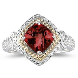 Garnet Ring in 14K Yellow Gold and Silver
