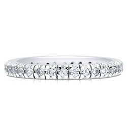 Sterling Silver Cubic Zirconia Stackable Pave Eternity Ring