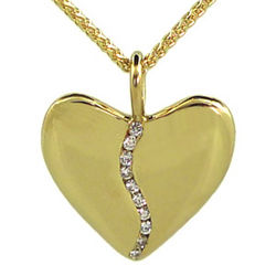 10 Diamond 18k Gold Small Harmony Heart Pendant