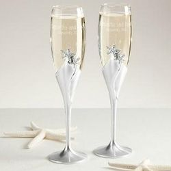 Personalized Starfish Champagne Flutes