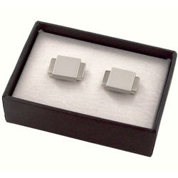 Personalized Two Tone Silver Metal Cufflinks