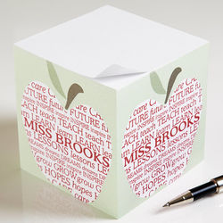 Personalized Teacher's Apple Scroll Note Pad Cube