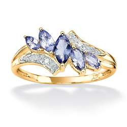 Gold over Sterling Tanzanite and Diamond Accent Ring