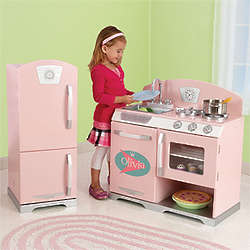 Retro Pink Personalized Kid's Kitchen Playset