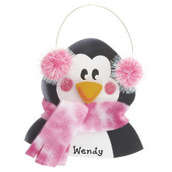 Personalized Penguin Pink Christmas Ornament