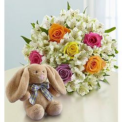 New Baby's Mixed Bouquet with Bunny Stuffed Animal