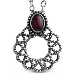 Ruby and Sterling Silver Wreath Necklace