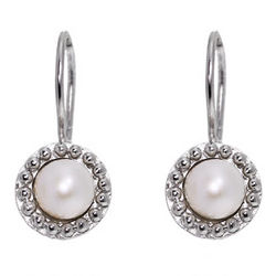 Pearl Leverback Earrings with Dotted Edging
