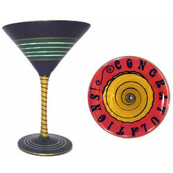 Happy Birthday Hand-Painted Multi-Dimensional Martini Glass