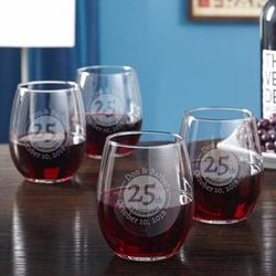 Anniversary Personalized Wine Glasses Set