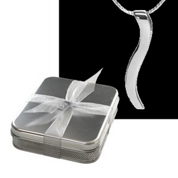 "10th Anniversary Tin Box with White Gold ""Connection Necklace"""