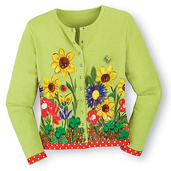 Handpainted 'Irish Garden' Cardigan