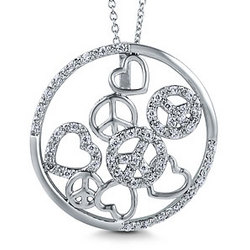 Sterling Silver Peace and Heart Necklace