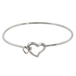Tiffany Inspired Sterling Double Linked Heart Bangle Bracelet