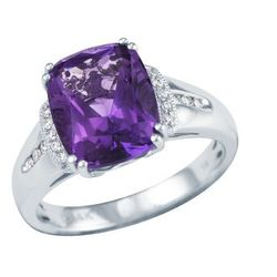 14kt White Gold Cushion Cut Amethyst Ring with Diamond Accents