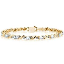 10K Yellow Gold Diamond and Aquamarine Bracelet